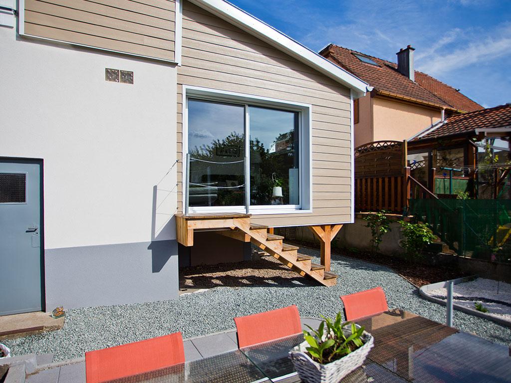 Agrandissement de maison : ossature bois et bardage fibro-ciment