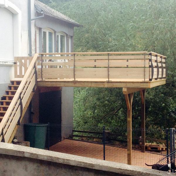 Terrasse en Pin autoclavé classe 4 et platelage en Chêne contre collé